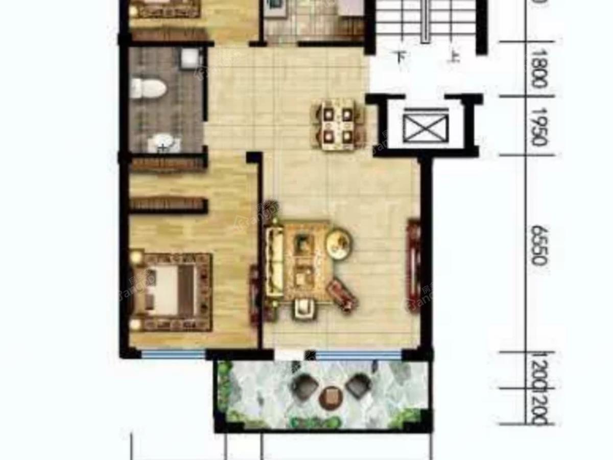 温莎溪谷2室2厅1卫户型图