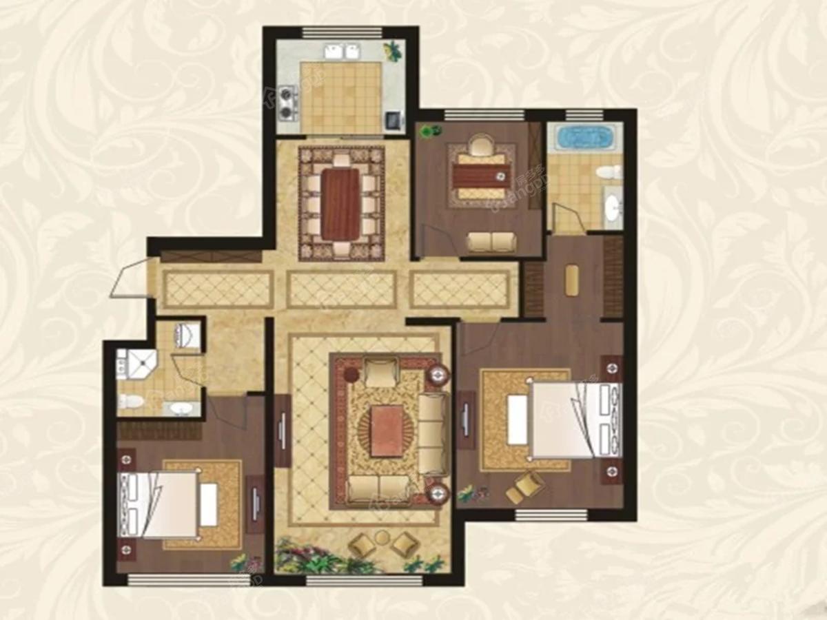 中海·雲鼎大观3室2厅1卫户型图