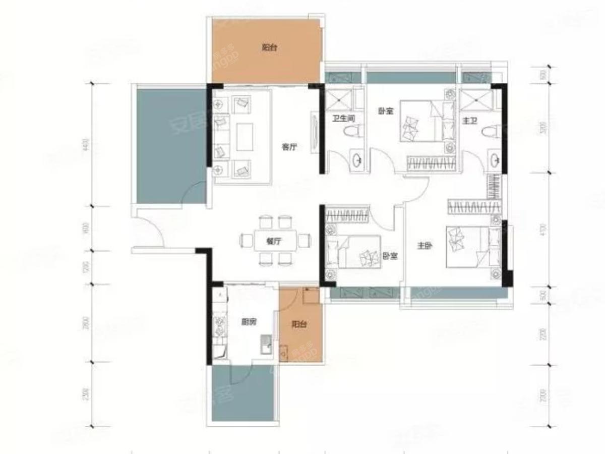 兆兴碧瑞花园二期4室2厅2卫户型图