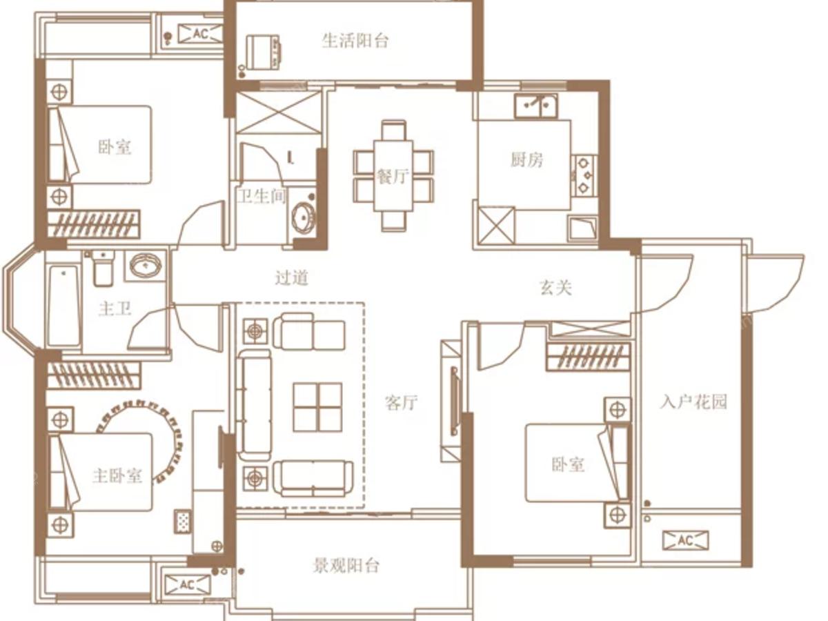 大汉龙城3室2厅2卫户型图
