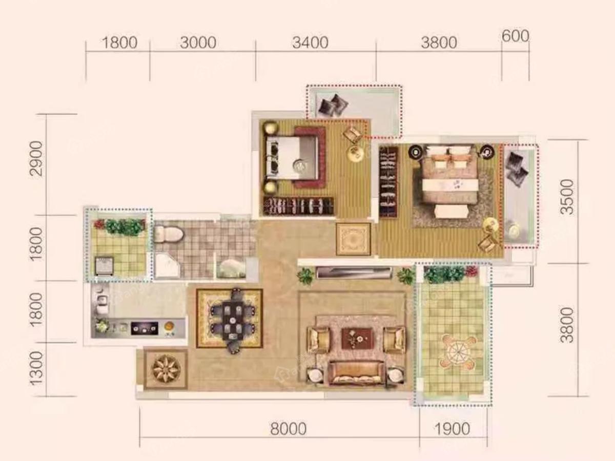 北宸阳光3室2厅1卫户型图