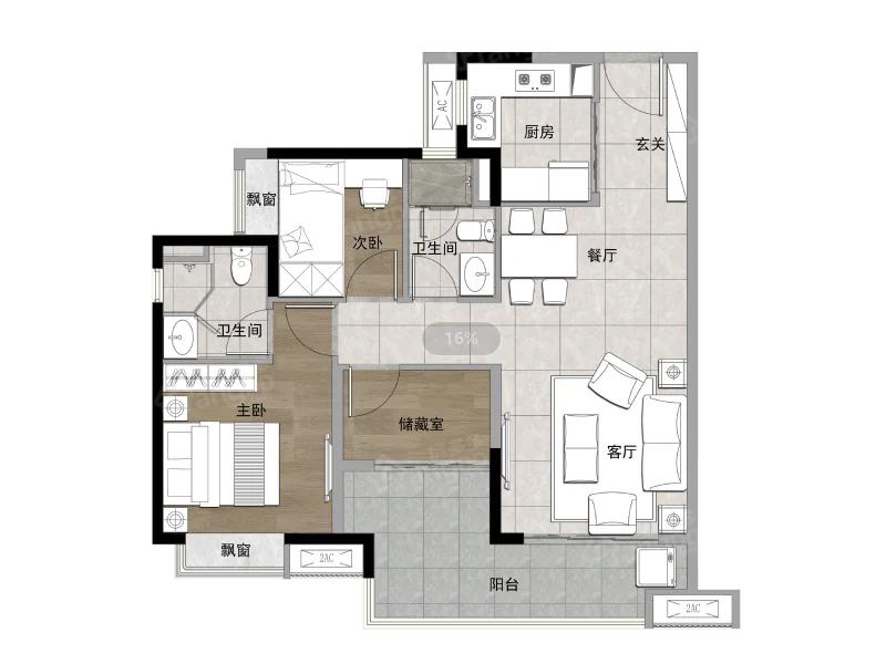 融创云水观棠花园3室2厅2卫户型图