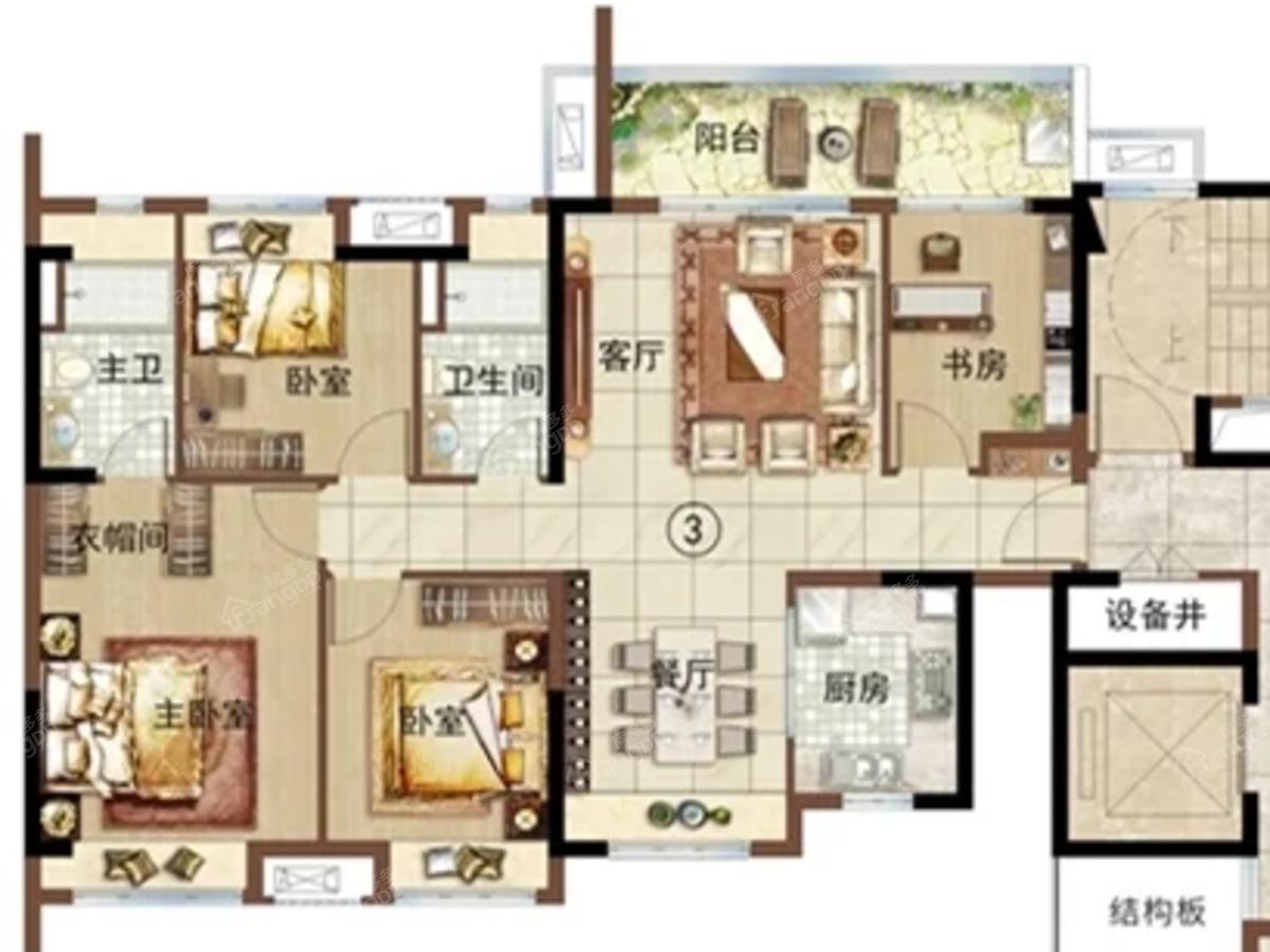 绿地新里海玥公馆4室2厅2卫户型图