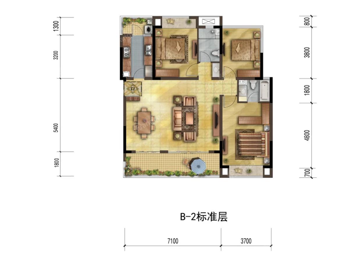 宏达雍锦悦府3室2厅2卫户型图
