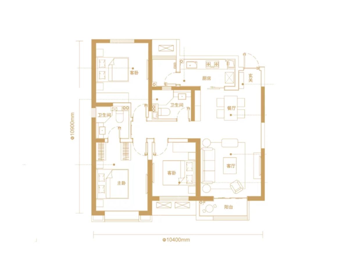 朗诗雁南栖3室2厅2卫户型图