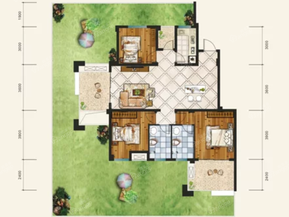鱼米阳光康养社区3室2厅1卫户型图