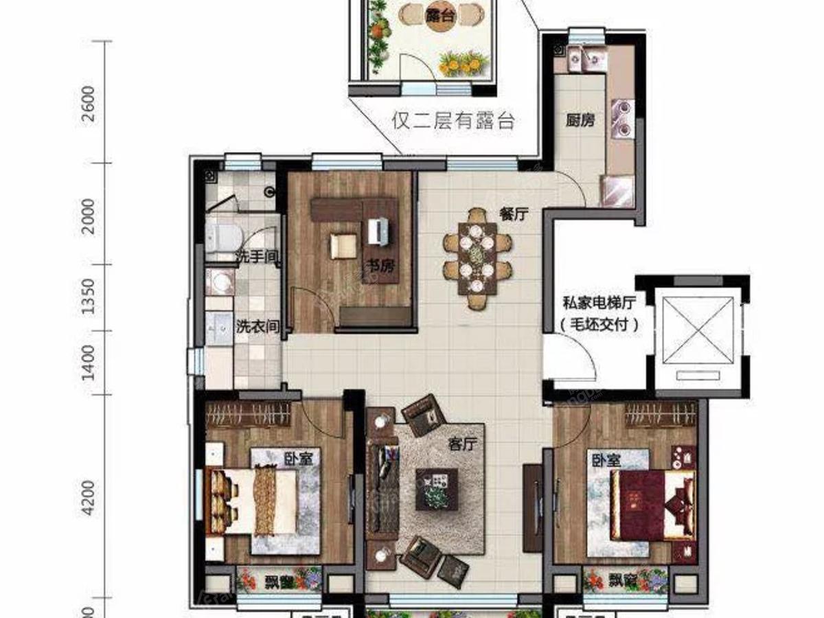 电建地产·海赋外滩3室2厅1卫户型图