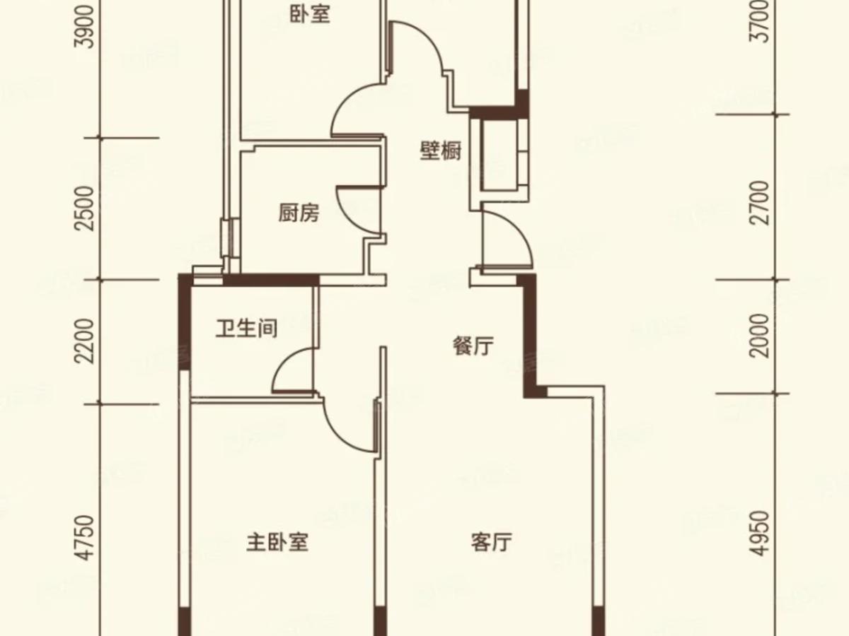 沈阳恒大文化旅游城3室2厅1卫户型图