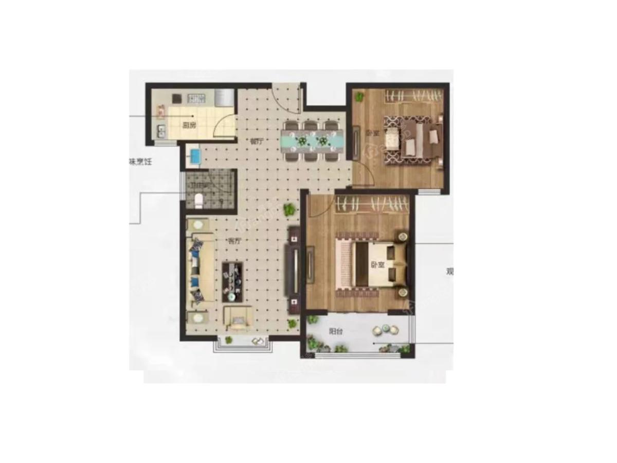 兰考京海湾2室2厅1卫户型图