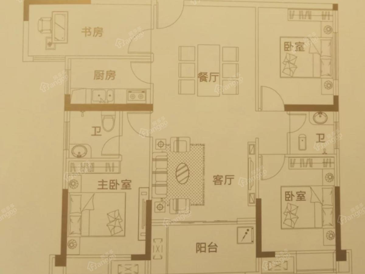 优山美域4室2厅2卫户型图