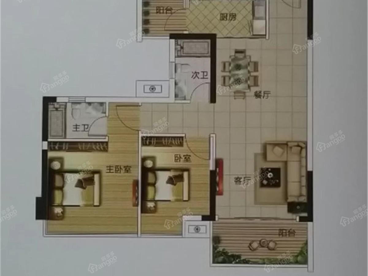 华夏金沙湾2室2厅2卫户型图
