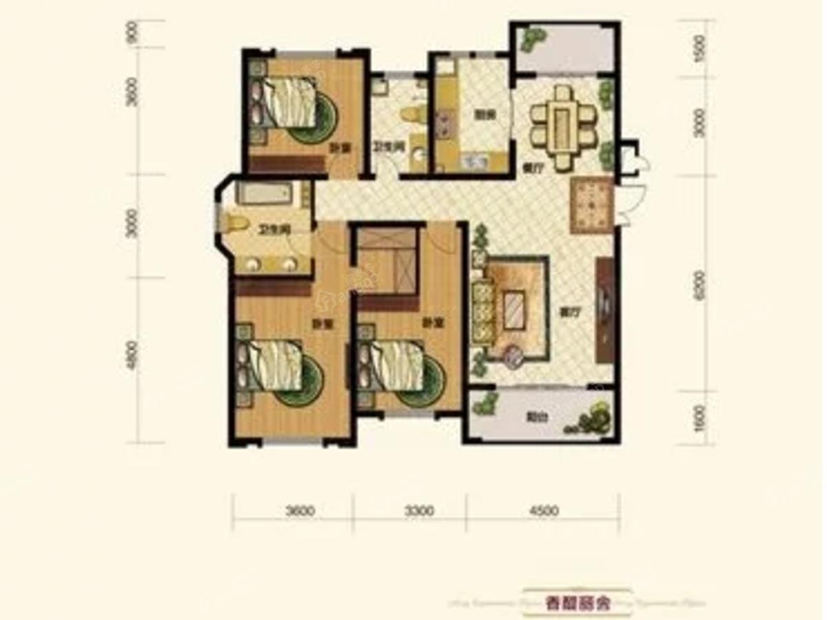 中恒湖滨壹号3室2厅2卫户型图