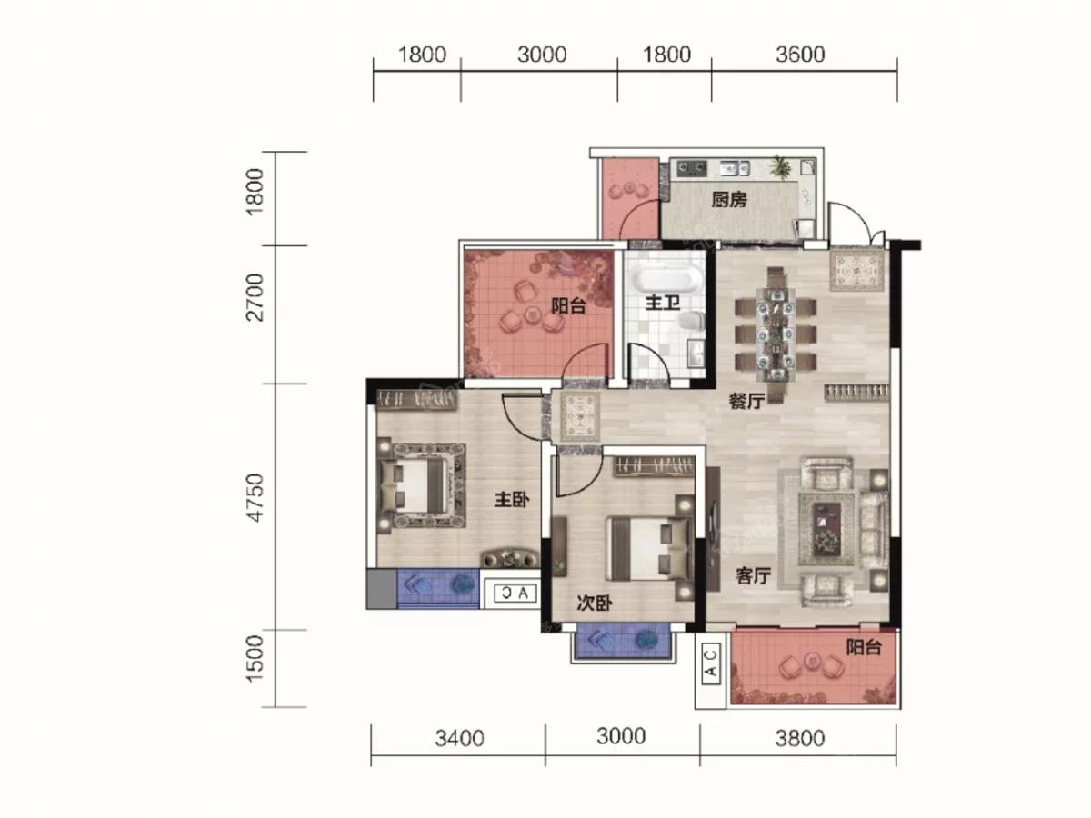 时代华府2室2厅1卫户型图
