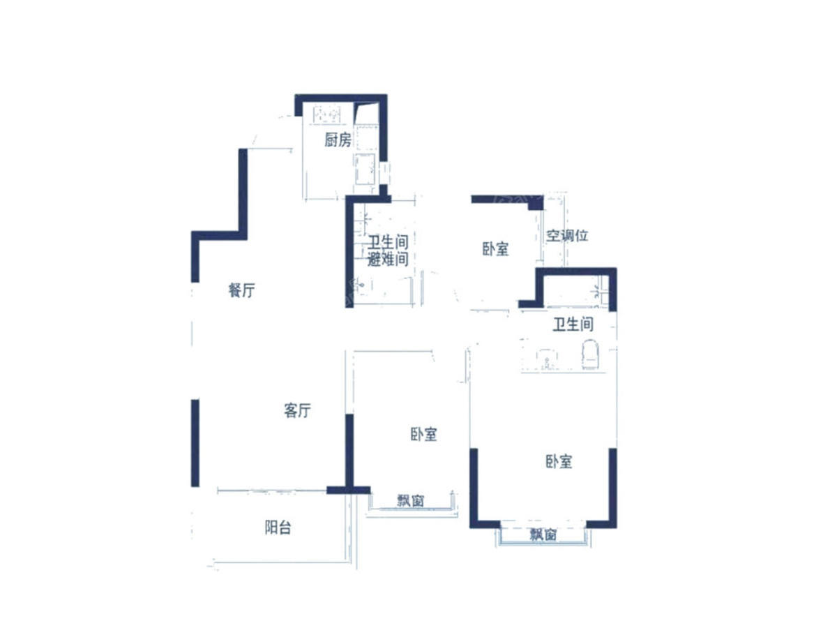 恒大帝景3室2厅2卫户型图