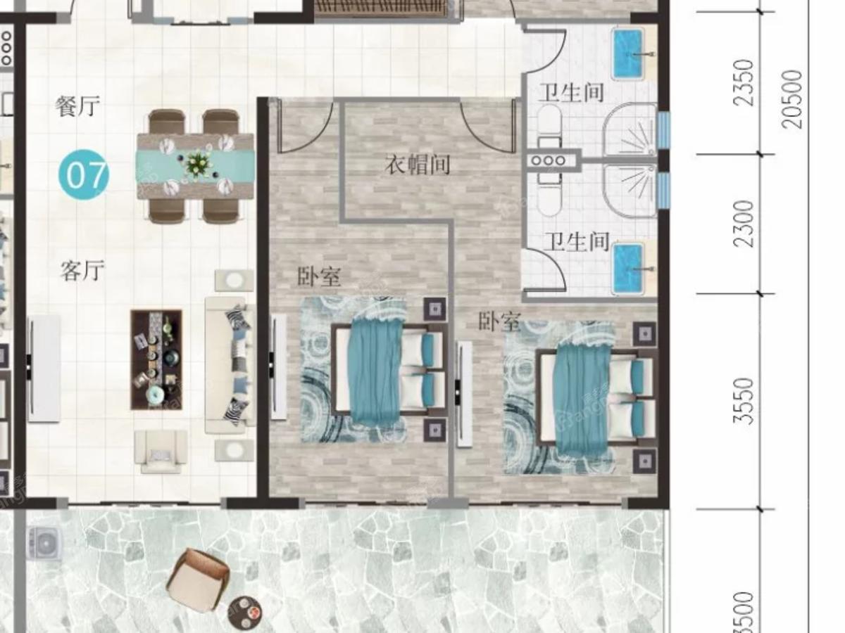 万豪海陵湾1号3室2厅3卫户型图