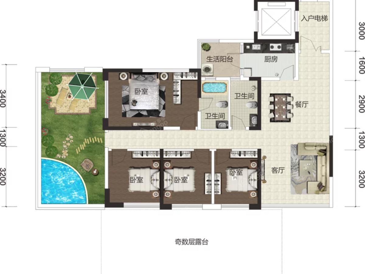 国力花海森林4室2厅2卫户型图