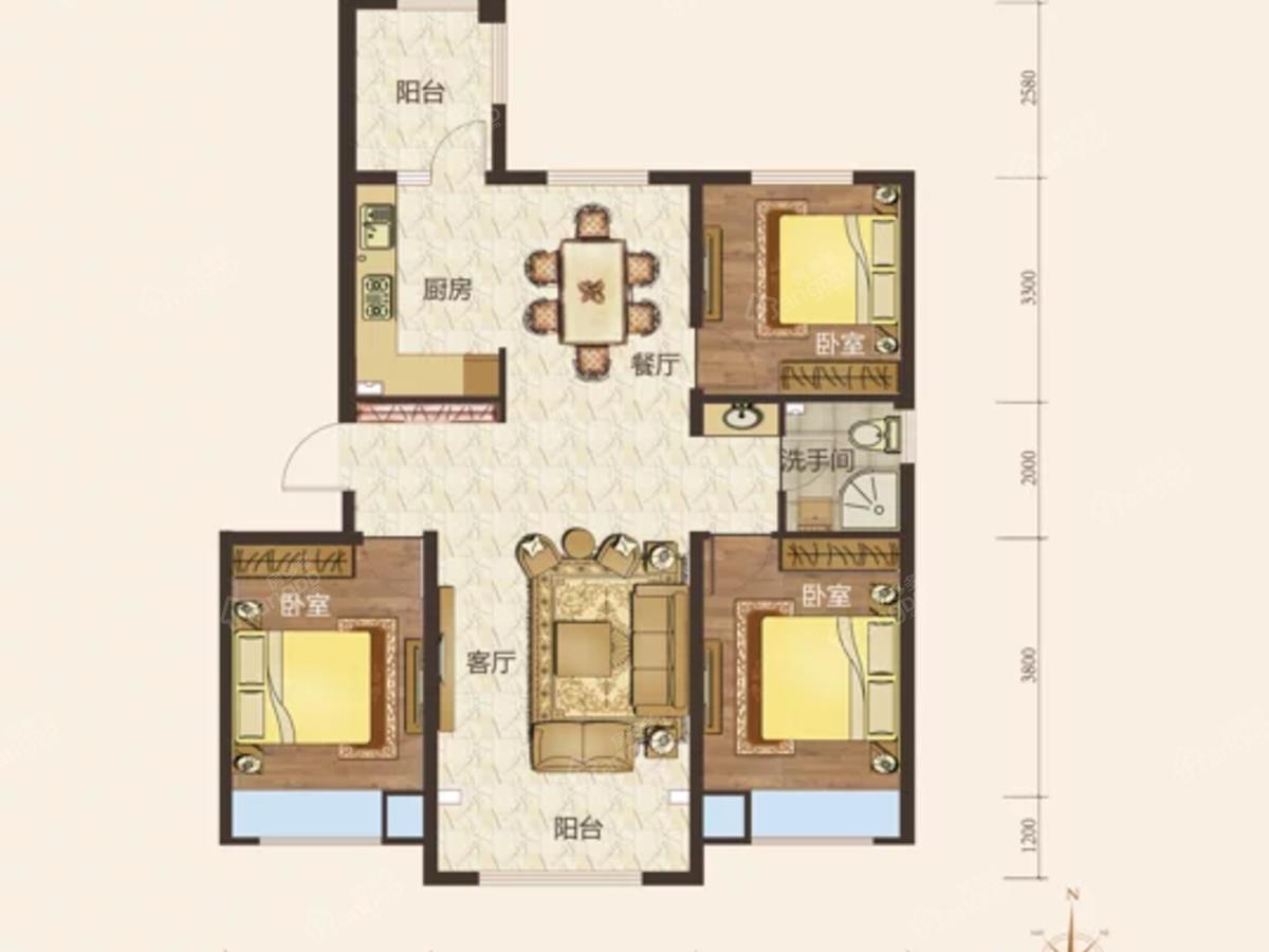 汇宏悦澜湾3室2厅1卫户型图