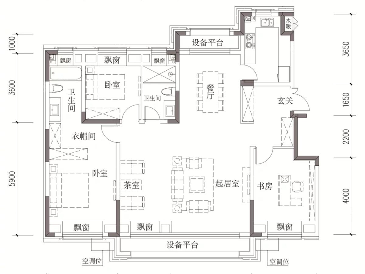 汇银东樾3室3厅2卫户型图