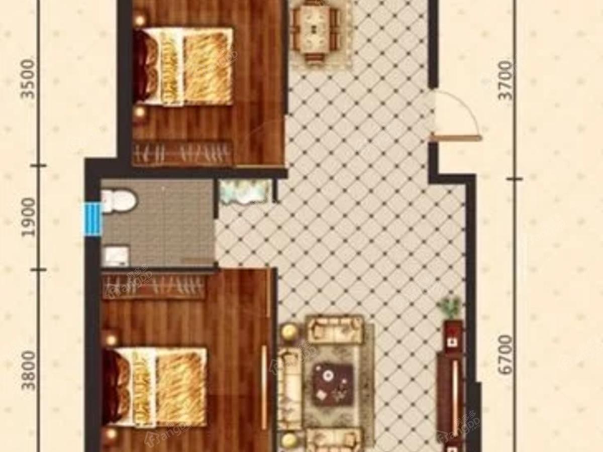 宝青丽景天成2室2厅1卫户型图