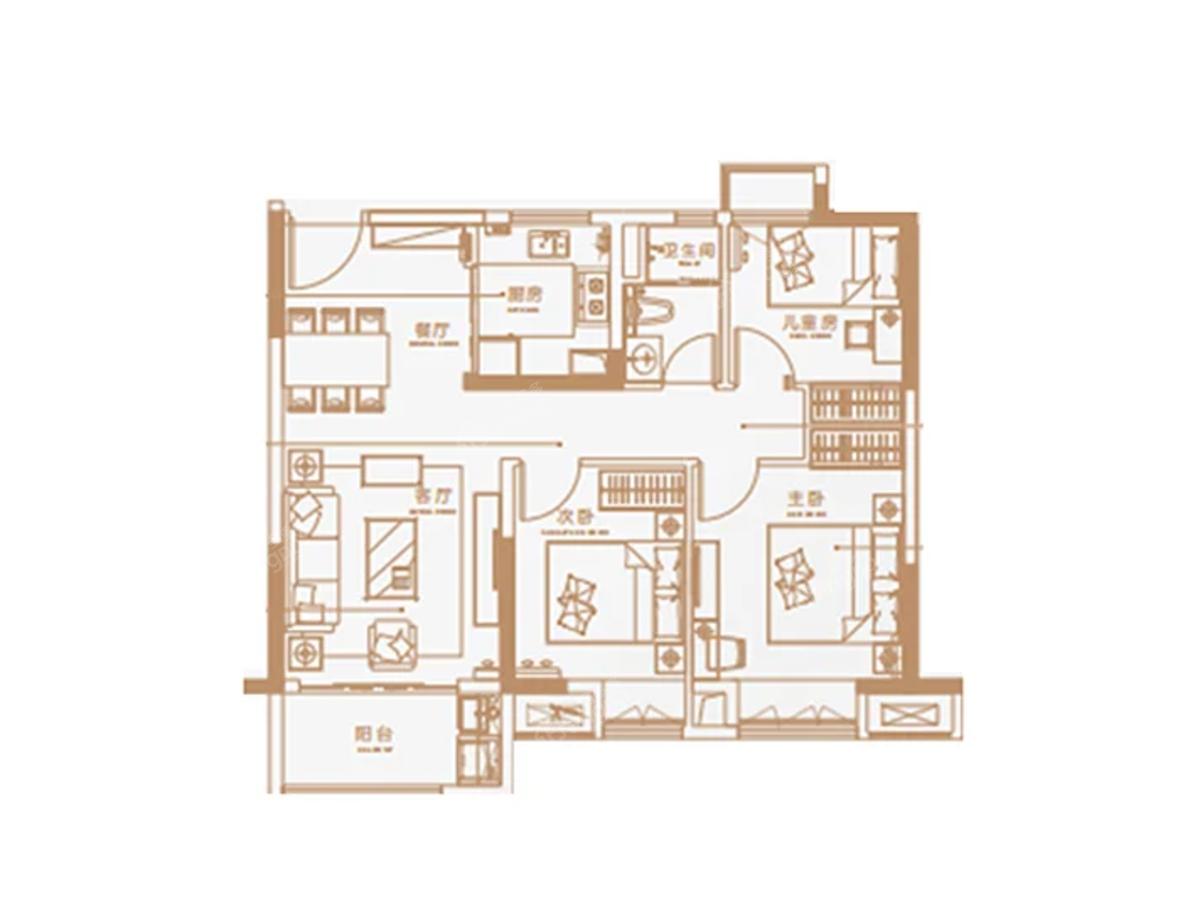 海伦堡·云璟台3室2厅1卫户型图