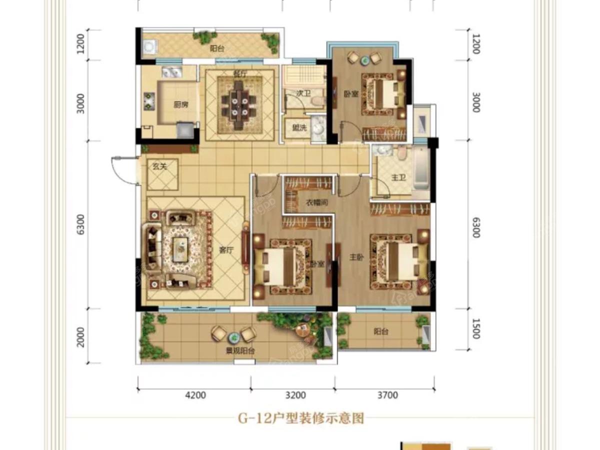 新湖巴山春晓3室2厅2卫户型图