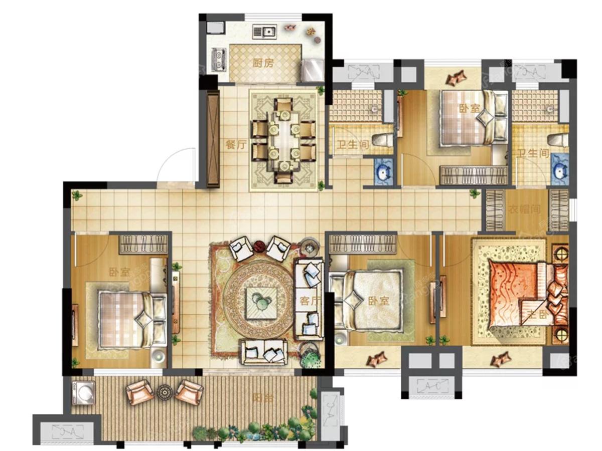 沙县世茂璀璨新城4室2厅2卫户型图