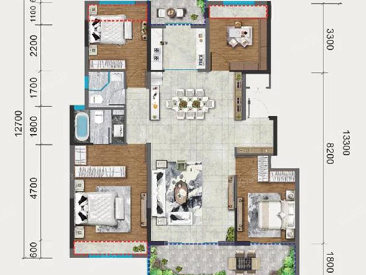 中梁国宾府4室2厅2卫户型图