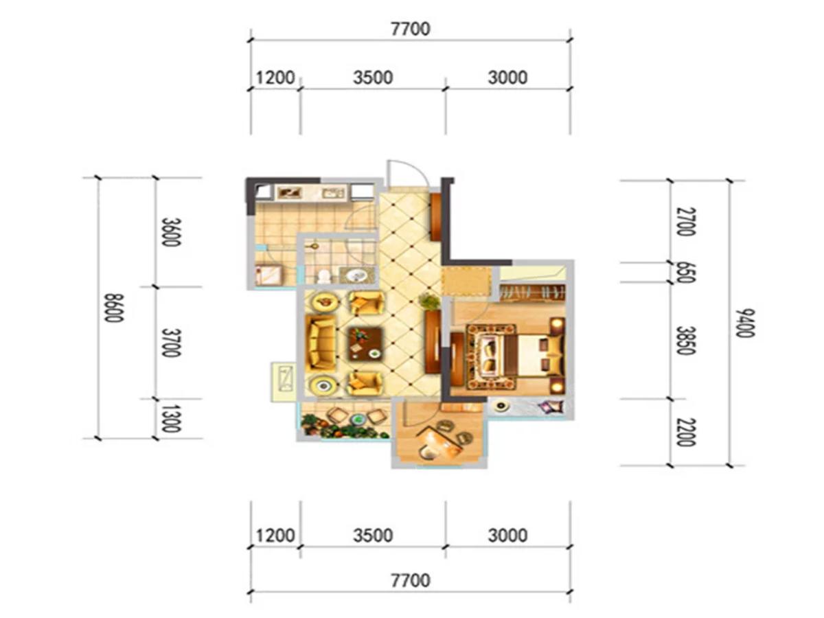 中央华府2室1厅1卫户型图