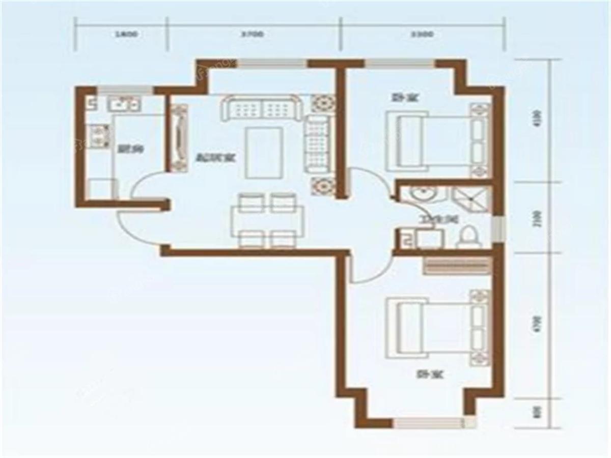 榆林华苑2室1厅1卫户型图