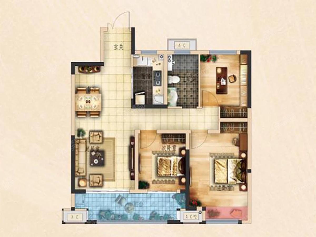 荆州吾悦广场3室2厅1卫户型图