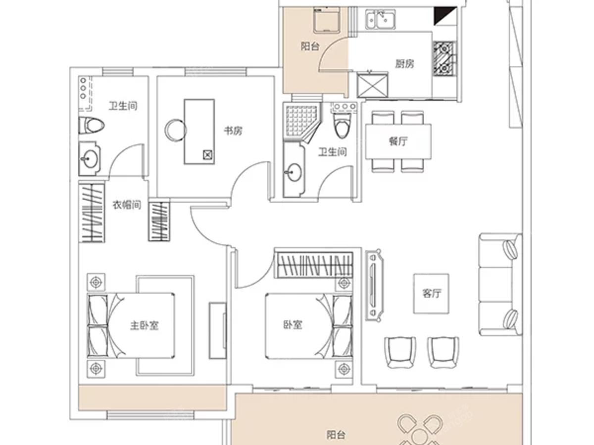 湾田·盘州盛世3室2厅2卫户型图