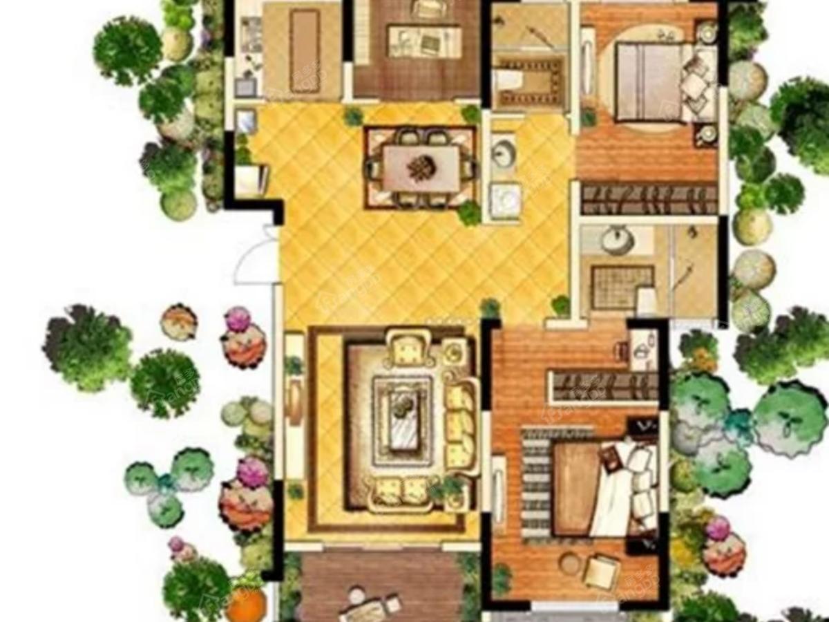 左岸森林公馆2室2厅2卫户型图