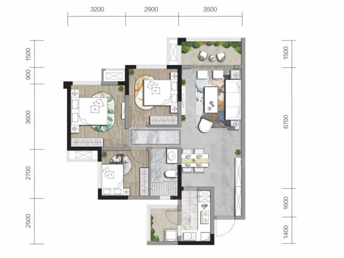 中南·春江阅3室2厅1卫户型图