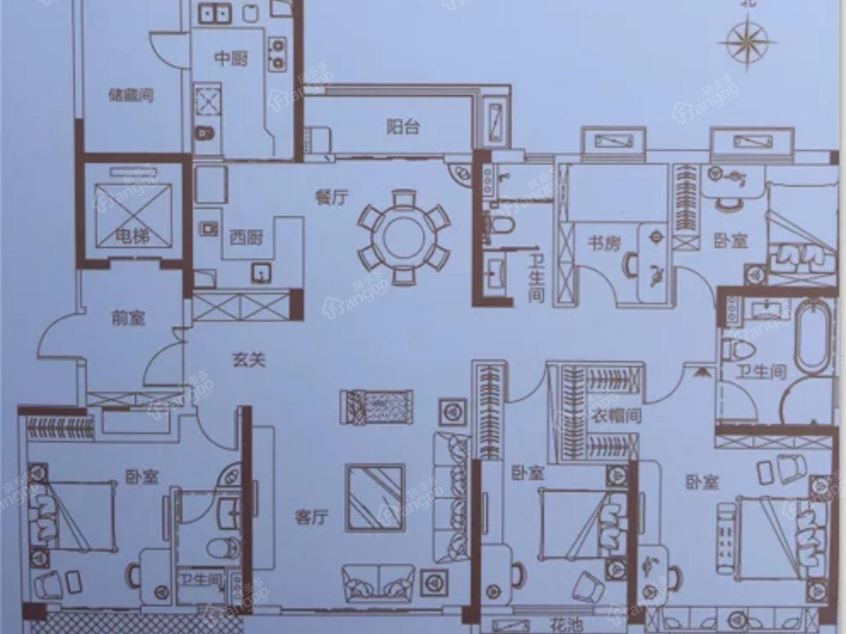 碧桂园天麓府5室2厅3卫户型图