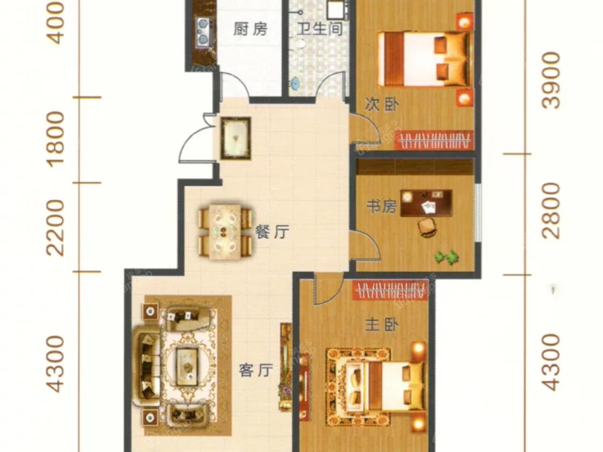 御湖尊邸3室2厅1卫户型图