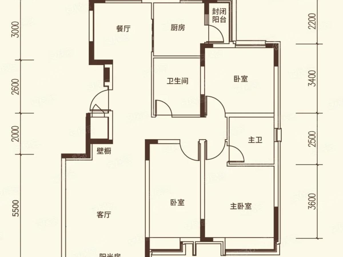 沈阳恒大文化旅游城3室2厅2卫户型图