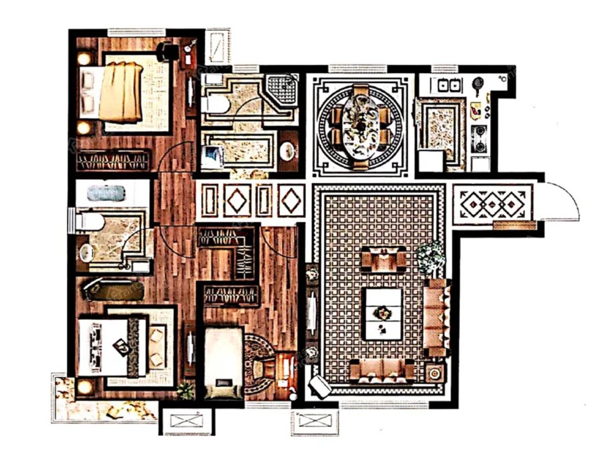 三利中和城3室2厅2卫户型图