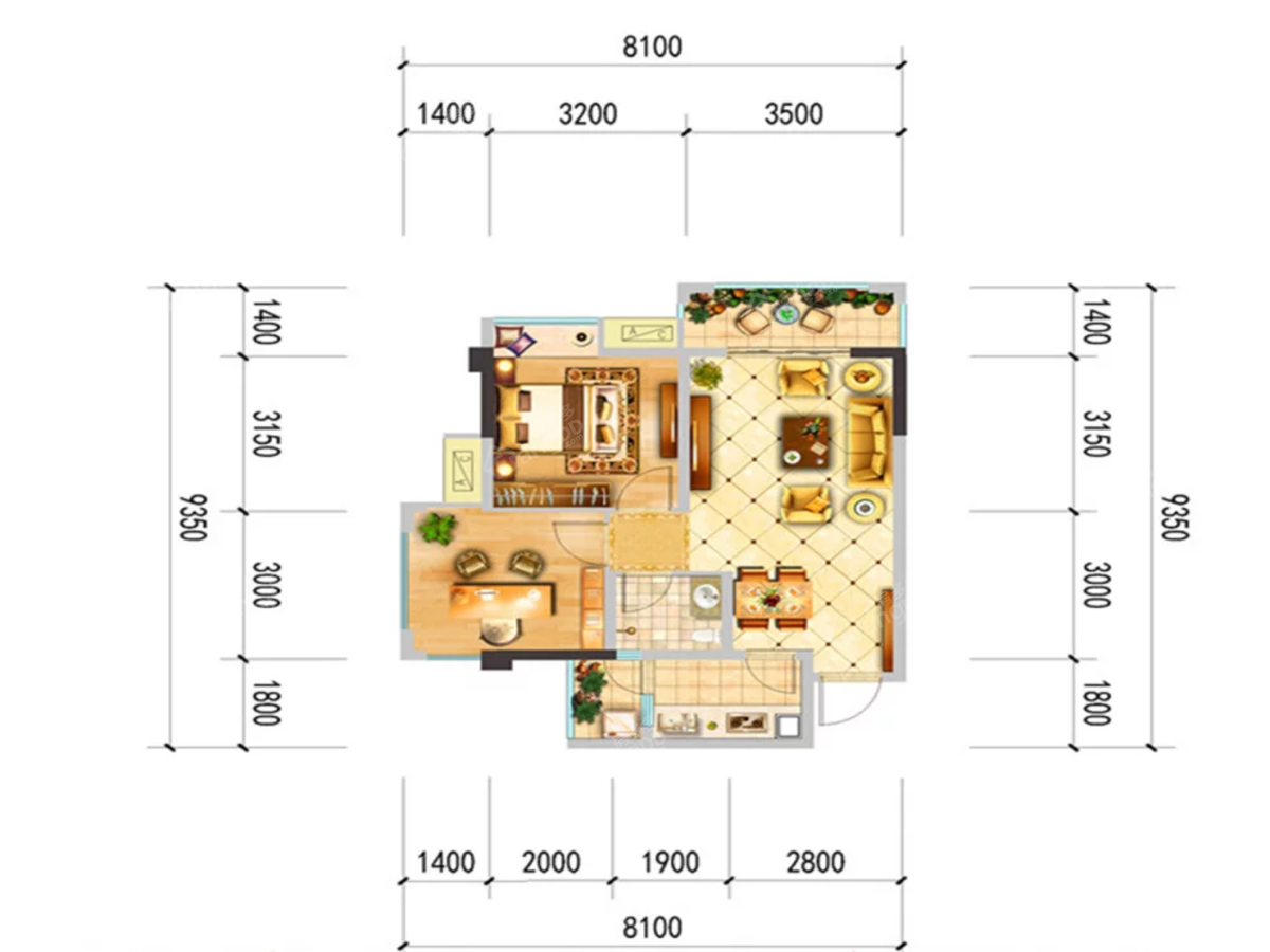 中央华府2室2厅1卫户型图
