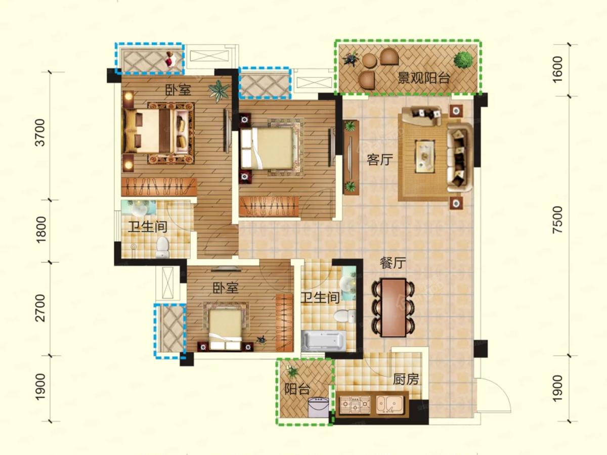兴发·铂金华府3室2厅2卫户型图