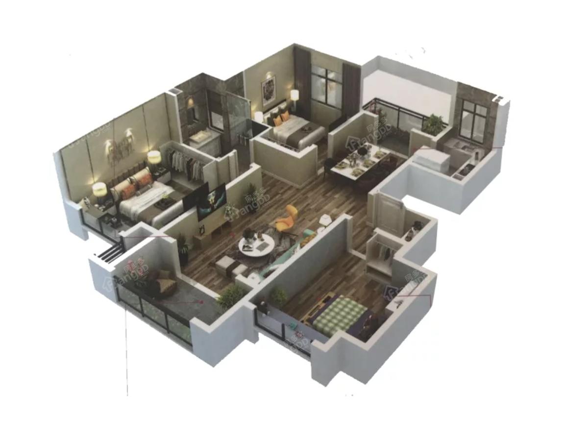 海门绿地长滩3室2厅1卫户型图