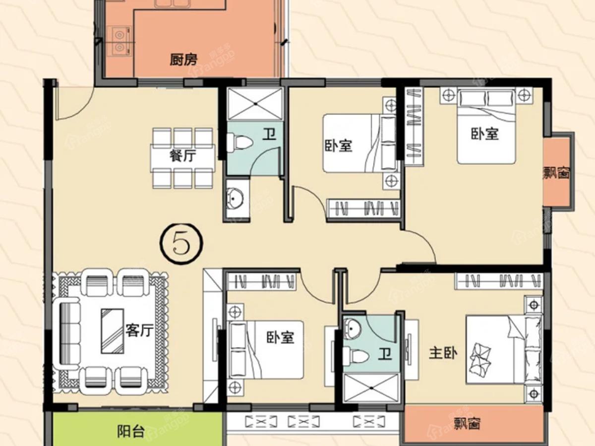 伯爵郦城4室2厅2卫户型图