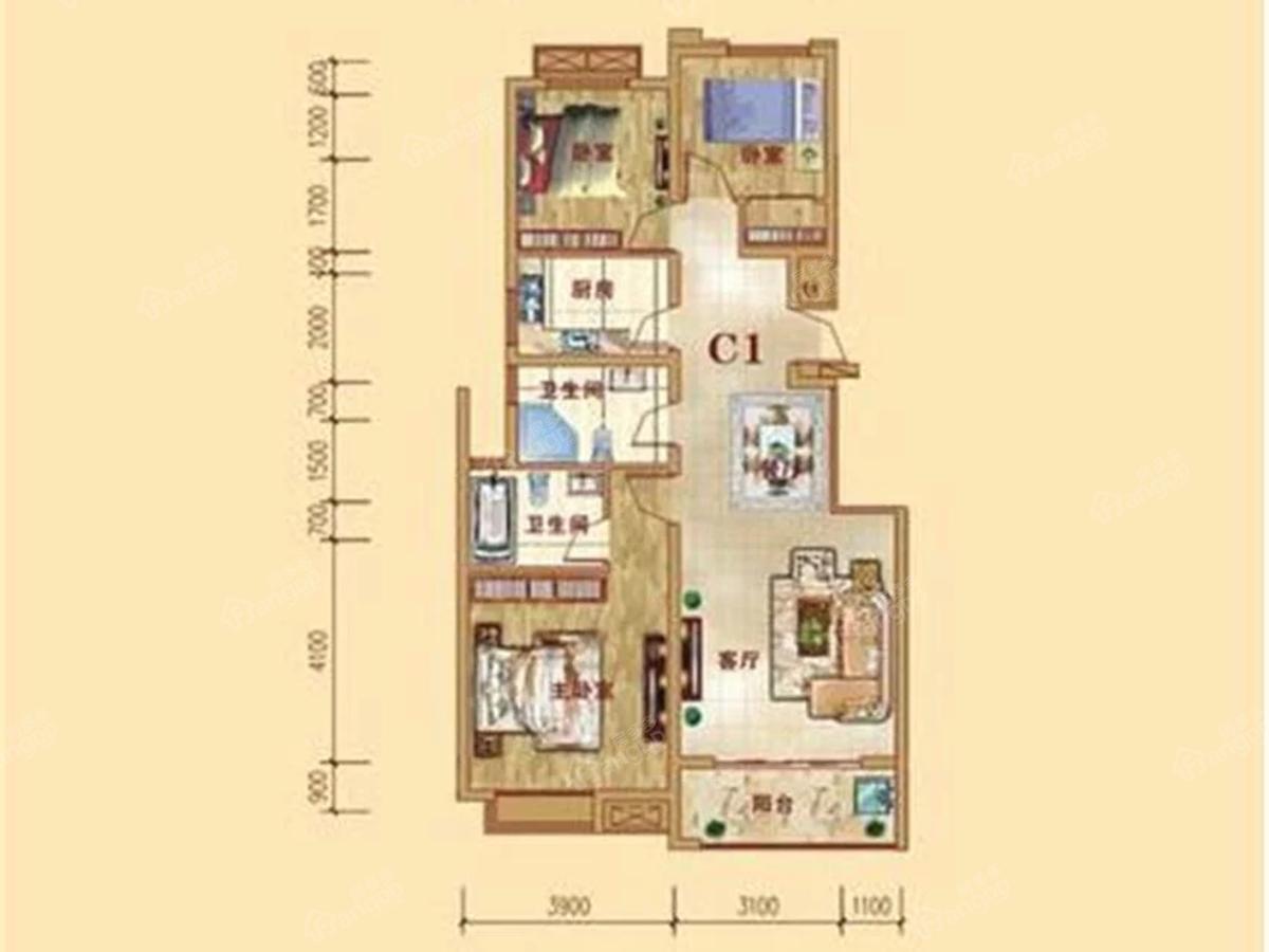 中原华府3室2厅2卫户型图