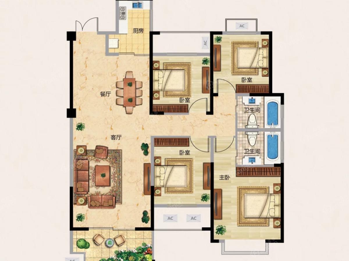 龙城天悦4室2厅2卫户型图