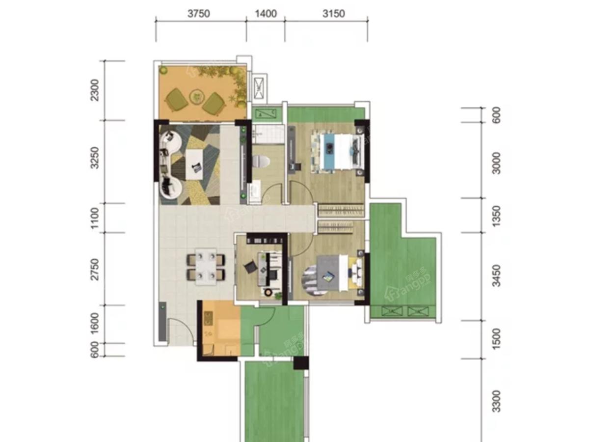城市印象花园2室2厅1卫户型图