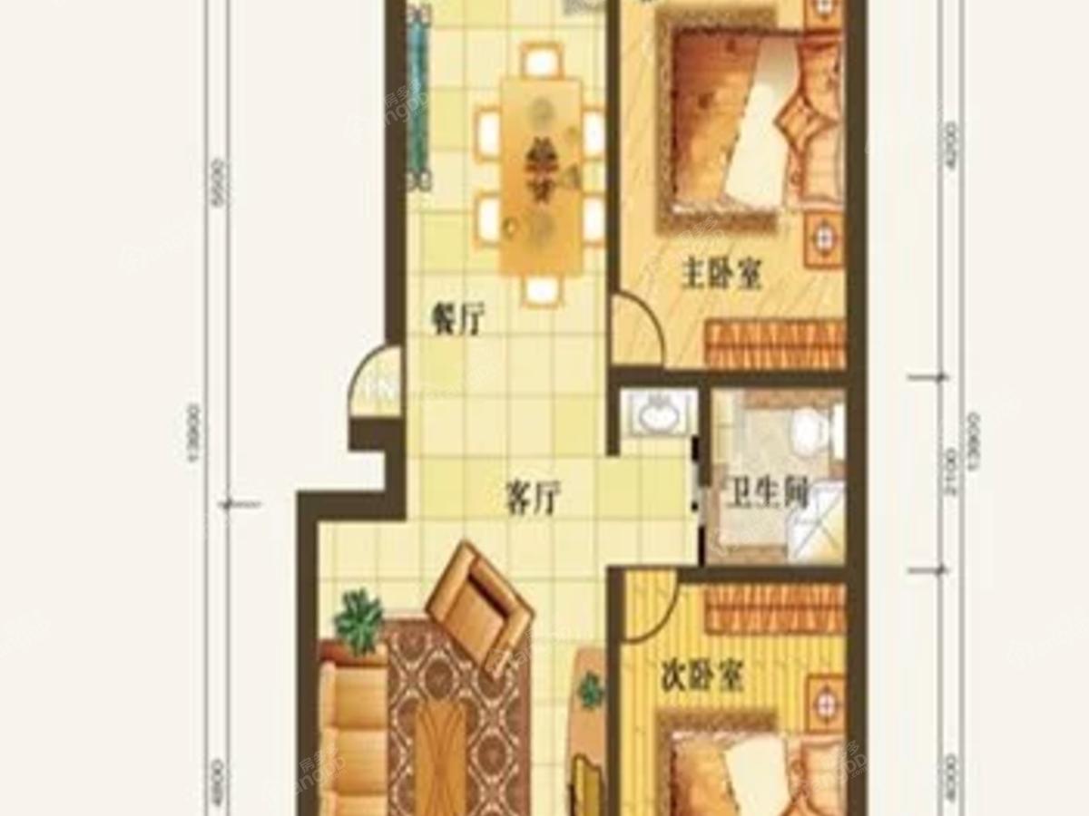 润和居二期2室2厅1卫户型图