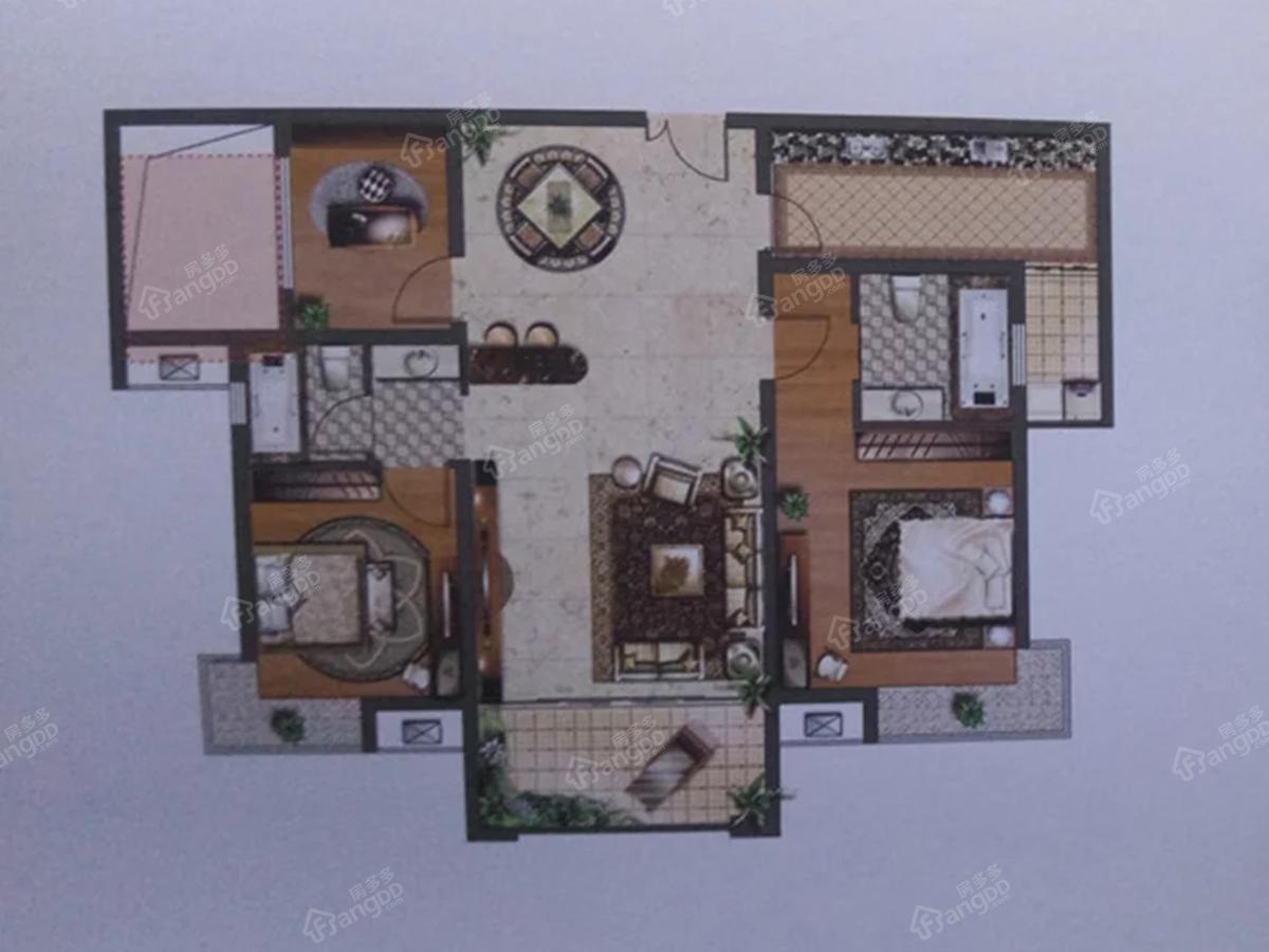 怡和源天悦城3室2厅1卫户型图