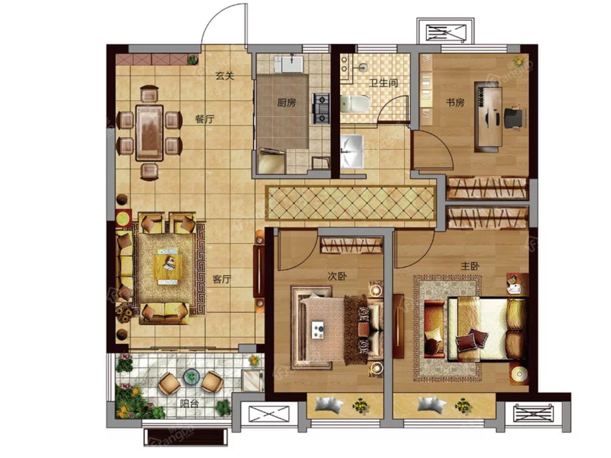 华地公馆3室2厅1卫户型图