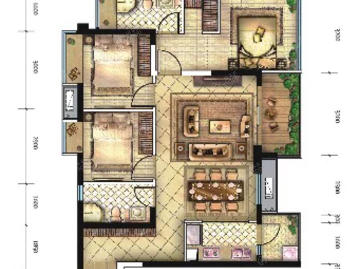 绵阳CBD万达三期天澜3室2厅2卫户型图