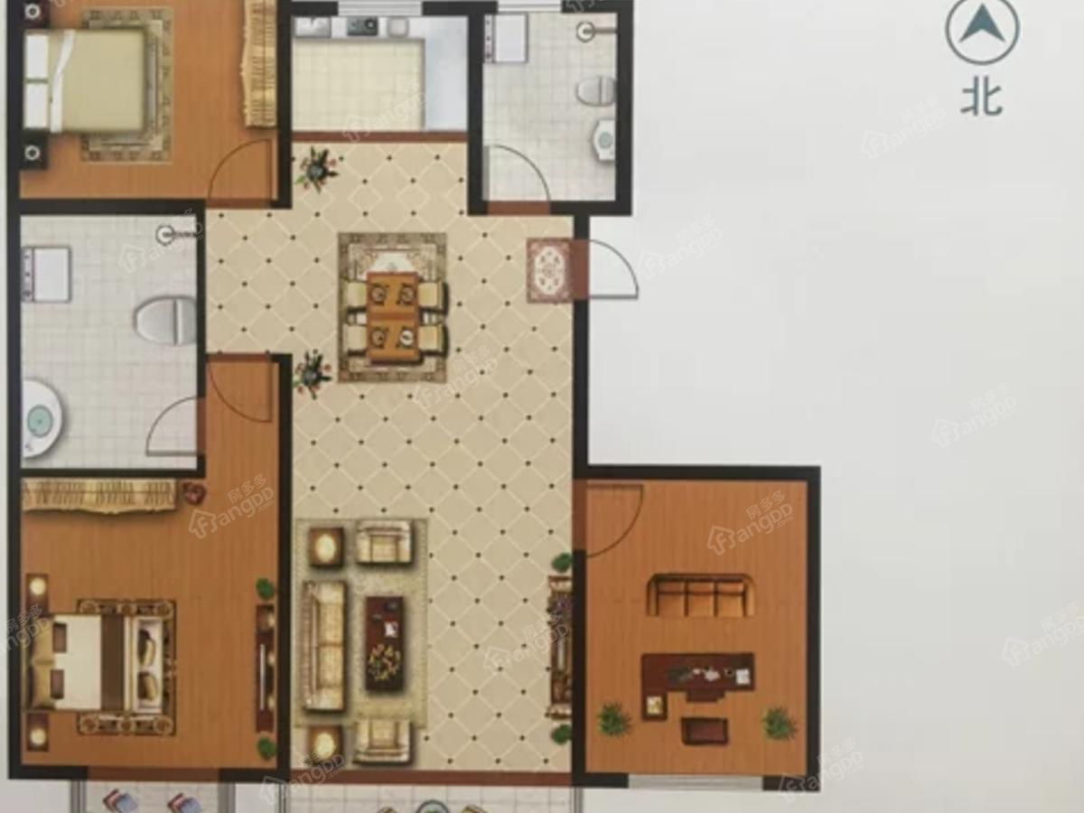 中房健康城3室2厅2卫户型图
