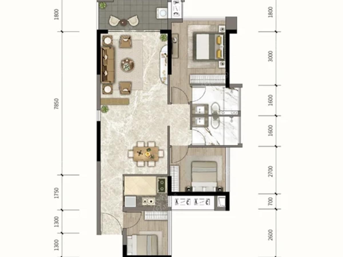 钰海豪庭3室2厅2卫户型图